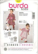 Burda Sewing Pattern  9457 Kids Girls Dirndl Dress & Apron 6M–3Yrs Uncut