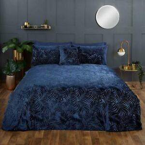 Navy Duvet Covers Paloma Palm Leaf Jacquard Tropical Jungle Velvet Bedding Sets