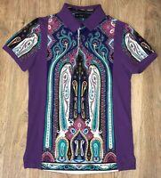 ETRO rare mens purple multicolor paisley pattern short sleeve polo shirt size S