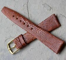 Unique pattern warm brown Short 18mm tapered Genuine Lizard vintage watch strap