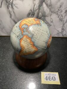 """4.25"""" World Globe Map Ornament On Wooden Stand Office Desk Man Cave Display"""