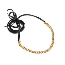 Black Choker Rope Cord Collar Chain Long Leather Necklace Punk Street Beat Style