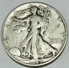 1945 S Walking Liberty Half Dollar Fine Condition 90% Silver US Coin C-1