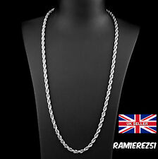 UK Mens Silver Hip Hop Bling Curb Rope Twist Rhodium Chain Necklace 30inch 4mm