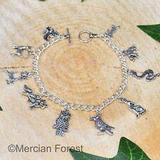 Spirit Animal Charm Bracelet - Pagan Jewellery Wicca Witch Druid Wolf Cat Raven