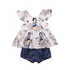 Snow White Toddler Kids Baby Girl Summer Tops Dress+Shorts Outfits Clothes Set