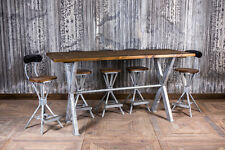 5FT GALVANISED RESTAURANT POSEUR TABLE BAR TABLE WITH STEEL FRAME AND PINE TOP