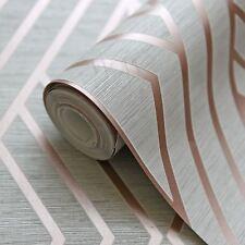 Papier Peint Géométrique Gris/Doré Rose - Poire Arbre Studios UK30506 Metalique