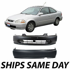 NEW Primered - Pair of Front and Rear Bumper Covers For 1999 2000 Honda Civic