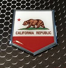 "California Flag Domed CHROME Emblem Proud Flag Car 3D Sticker 2""x 2.25"" Baja CA"