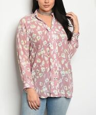 Plus Size 20 Blouse Mauve Pink Button up Floral Shirt