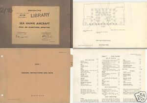 HAWKER SEA HAWK HISTORIC MANUAL SERVICE FLEET AIR ARM NAVY rare detail 1950's