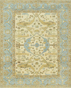 Oushak 8'x10' Ivory Wool Hand-Knotted Oriental Rug