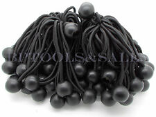 "50Pcs 6"" Black Ball Bungees Cord Tarp Bungee Tie Down Strap Bungi Canopy Straps"