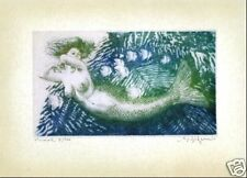 Ocean Sea MERMAID - limited edition LARGE size hand worked & SIGNED giclee print