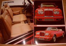 Bentley Brochure Continental / Mulsanne Etc - As Photo