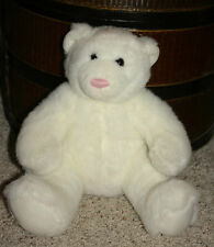 "Build A Bear Workshop 13"" White Polor Bear w/ Pink Nose Plush Stuffed Sitting D5"