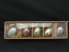 "NEW RARE Pottery Barn Mercury Blown Glass Eggs 3"" Ornaments Set 5 Easter Spring"