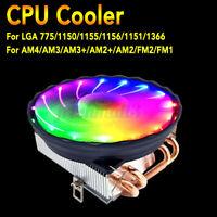 RGB LED CPU Cooler Fan 3Pin 4 Heatpipe For Intel LGA 1155/1151/1150/1366/775
