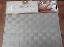 NEW 4 Piece Mink Beige Brown Metallic Look Woven PVC Placemats Kitchen Dining