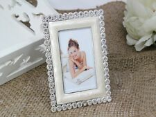 WEDDING/ENGAGEMENT/ANNIVERSARY IVORY PEARL DIAMANTE PHOTO FRAME BOMBONIERE FAVOR