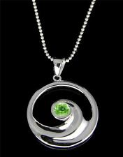 GENUINE PERIDOT SILVER 925 HAWAIIAN OCEAN WAVE PENDANT ROUND RHODIUM 19.25MM