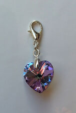 Kristall Schmuck Charm silberfarben mit Swarovski Elements Herz Lila