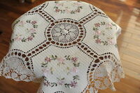 RIBBON EMBROIDERY & CROCHET TABLECLOTH TOPPER TEACLTOH PINK FLOWER WREATH