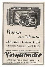 Pubblicità 1938 VOIGTLANDER BESSA HELIAR FOTO PHOTO old advert werbung publicitè