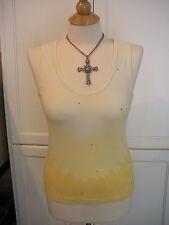 SOOOO SEXY-! NWOT $69 BEBE Yellow Dye Tie Shimmer Crystal Rhinestone Tank Top  L