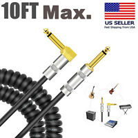Max. 10ft Electric Guitar Bass Amplifier AMP Instrument Cable Cord 1/4Inch  Plug