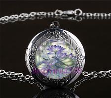Lotus Dragonfly Photo Cabochon Glass Gun Black Locket Pendant Necklace#A23