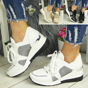 Ladies Wedge Hidden Classic Trainers Womens Sneakers Lace Up Pumps Comfy Shoes
