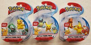 3 - Pokemon Battle Figure Packs Pikachu Squirtle Charmander Bulbasaur 2in Figure