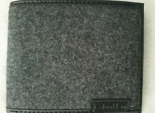 Calvin Klein Men Black Leather Wool Exterior 6CC Bifold Billfold Wallet
