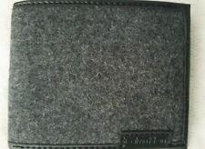 Calvin Klein Men Black Leather Wool Exterior 6CC Bifold Billfold Wallet