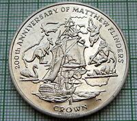 ISLE OF MAN 2014 CROWN, 200th ANNIVERSARY OF MATTHEW FLINDERS, SAILING SHIP, BU