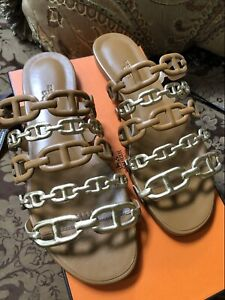 BNIB HERMES Thalassa Sandale Nappa/Metallic Nappa in Dore/Beige Dore size 37