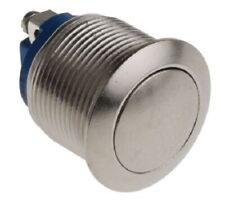 Apem PUSH BUTTON SWITCH 2A Momentary 1-Pole On-Off, Panel/Screw Mount SILVER