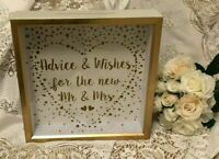 GOLD WEDDING WISHING WELL ADVICE & WISHES FOR THE NEW MR & MRS CARDS WOOD GIFTS