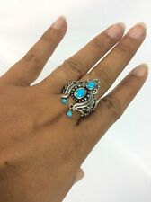 Carolyn Pollack southwestern sterling Silver 925  turquoise Naja ring size 10
