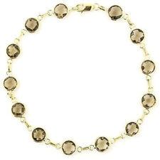 14K Yellow Gold Fancy Cut Smoky Topaz Bracelet 7.25 Inches