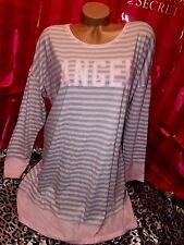 Victorias Secret Cotton Sleepshirt Nightie Gray & Pink Angel XL