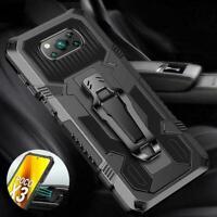 For Xiaomi POCO X3 NFC Mi 10T Pro Lite Hybrid Armor Case Cover Metal Belt U0O2