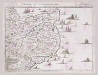 Map 1744 Fricx Dover Kent Hundreds Old Large Canvas Art Print