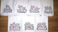 SEW SWEET BIRDS DAYS OF THE WEEK EMBROIDERED FLOUR SACK DISH TOWELS
