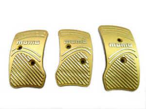 Momo Style Gold Silver Aluminum Non Slip Gas Brake Pedal Pad Manual Car 3 PCS