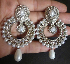 South Indian Antique Silver plated Vintage Pearl Drop CZ Bridal Earrings Jhumka