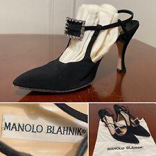 MANOLO BLAHNIK Black Canvas Mary-Jane Ankle-Strap Point-Toe Heels Size 38 US 8