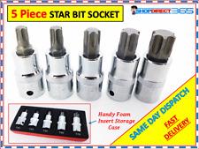 """5PC Torx Star Socket Bit Set 1/2"""" Drive CRV T45-T70 male E Bit Sockets ct3628"""